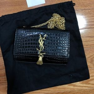 YSL Kate croc small bag with tassel